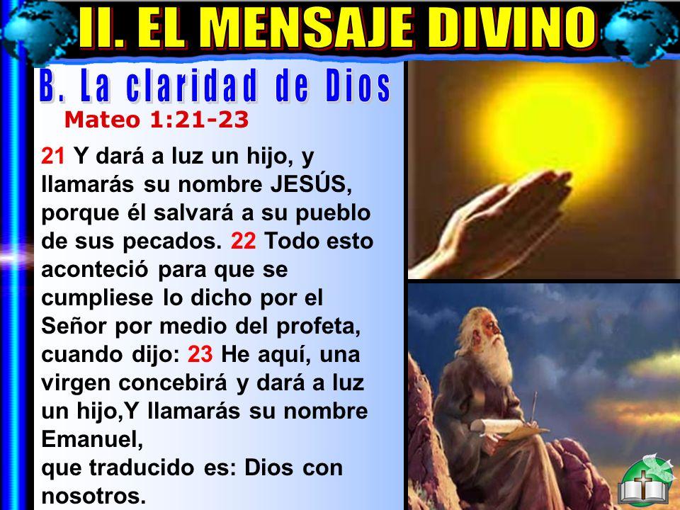 El Mensaje Divino B II. EL MENSAJE DIVINO B. La claridad de Dios