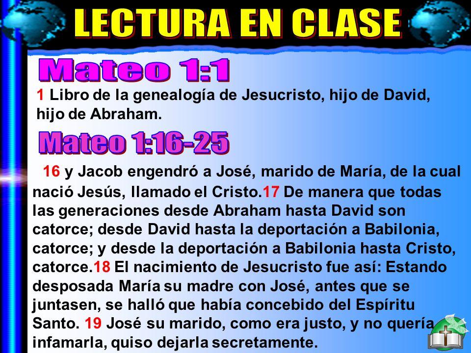 Lectura En Clase A LECTURA EN CLASE Mateo 1:1 Mateo 1:16-25
