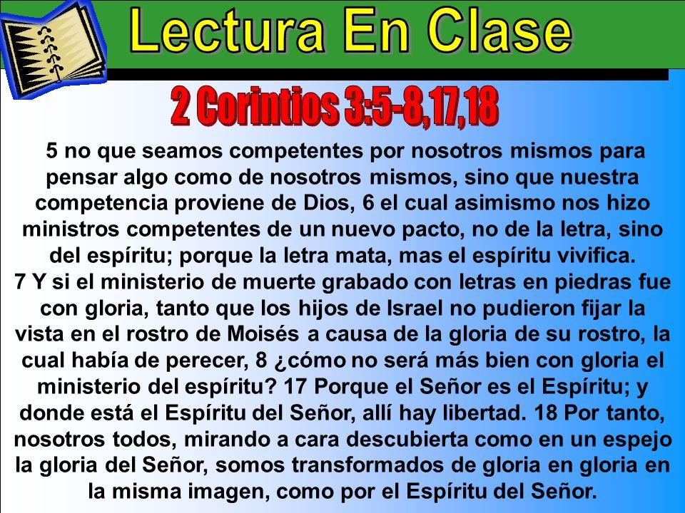 Lectura En Clase A Lectura En Clase 2 Corintios 3:5-8,17,18