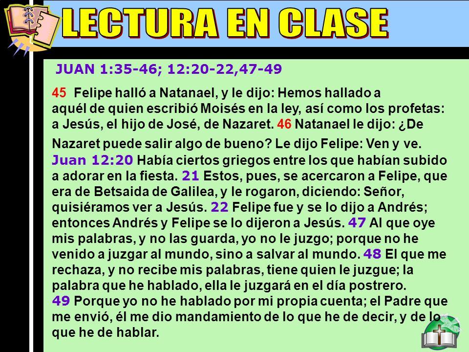 Lectura En Clase B LECTURA EN CLASE JUAN 1:35-46; 12:20-22,47-49