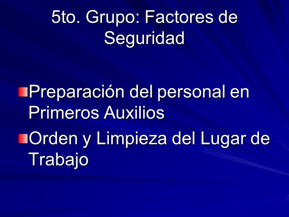 5to. Grupo: Factores de Seguridad