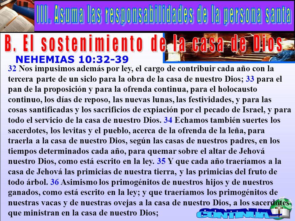 El Sostenimiento De La Casa De Dios A