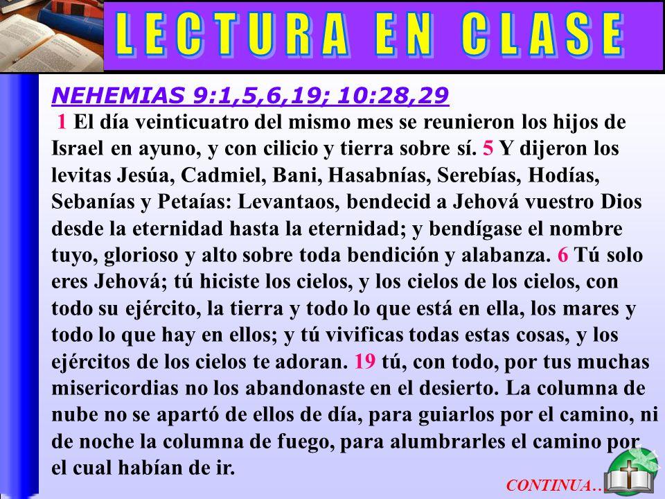 Lectura En Clase B LECTURA EN CLASE NEHEMIAS 9:1,5,6,19; 10:28,29