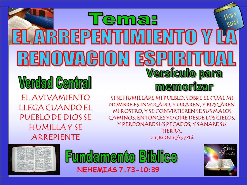 Tema Tema: EL ARREPENTIMIENTO Y LA RENOVACION ESPIRITUAL