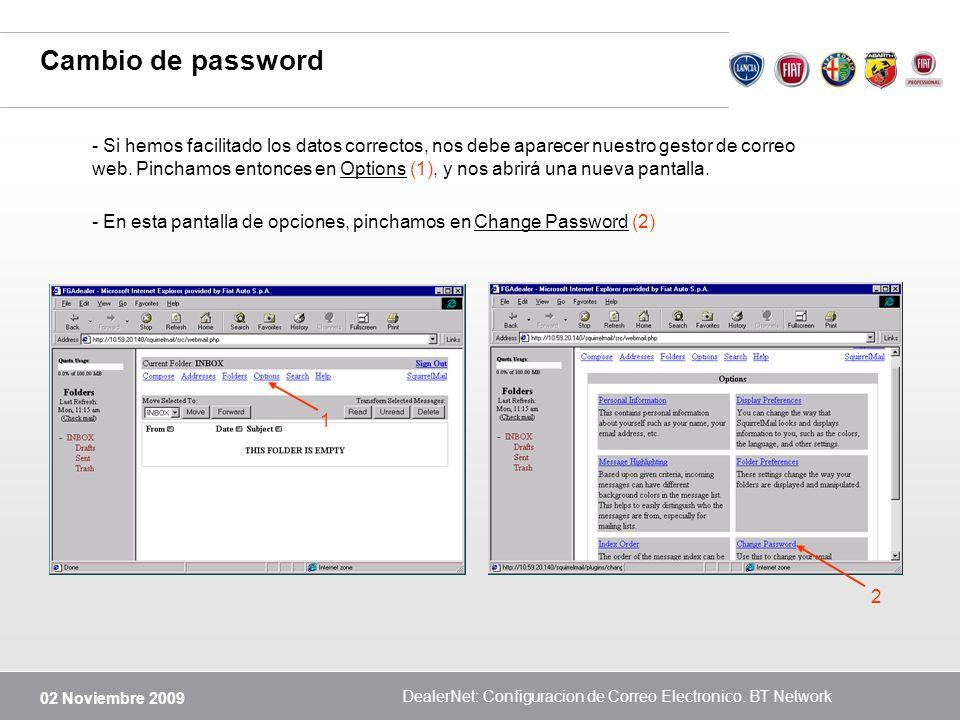 DealerNet: Configuracion de Correo Electronico. BT Network