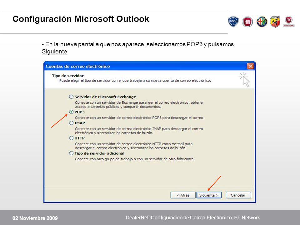 Configuración Microsoft Outlook