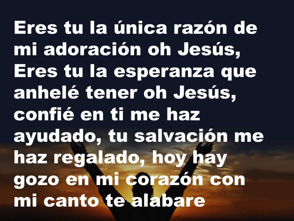 Eres tu la única razón de mi adoración oh Jesús, Eres tu la esperanza que anhelé tener oh Jesús, confié en ti me haz ayudado, tu salvación me haz regalado, hoy hay gozo en mi corazón con mi canto te alabare