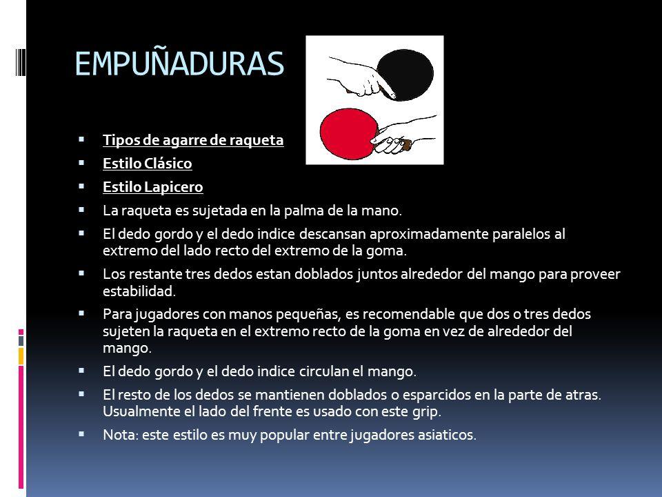 EMPUÑADURAS Tipos de agarre de raqueta Estilo Clásico Estilo Lapicero