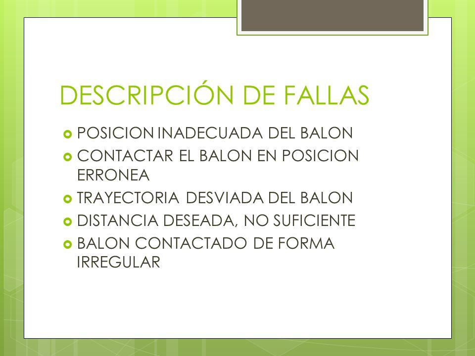 DESCRIPCIÓN DE FALLAS POSICION INADECUADA DEL BALON