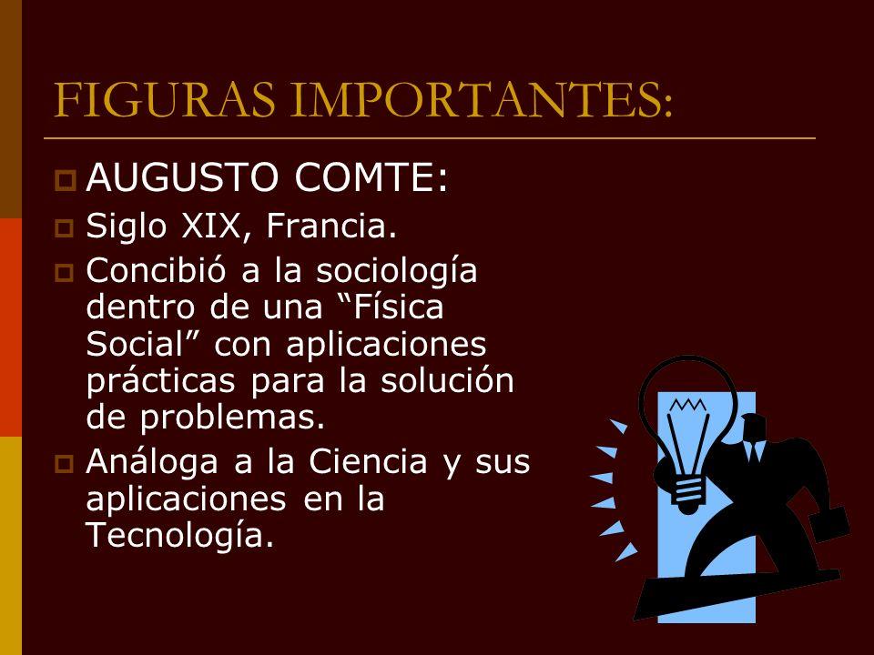FIGURAS IMPORTANTES: AUGUSTO COMTE: Siglo XIX, Francia.
