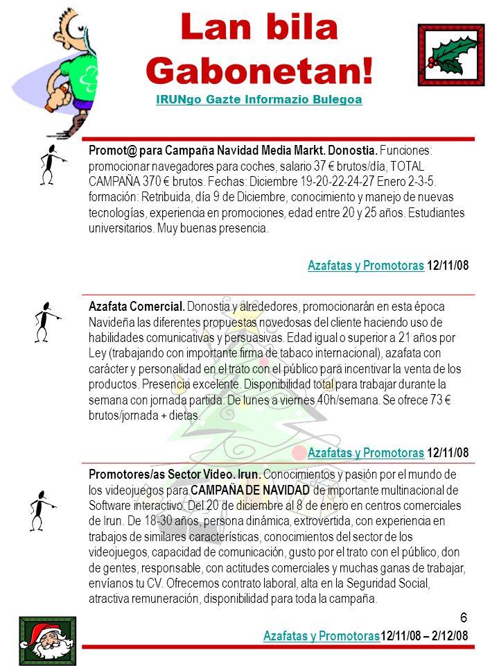 Lan bila Gabonetan! IRUNgo Gazte Informazio Bulegoa