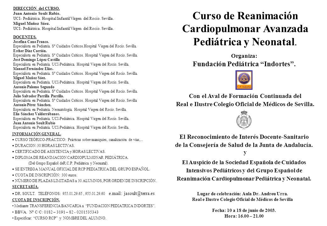 Cardiopulmonar Avanzada Pediátrica y Neonatal.
