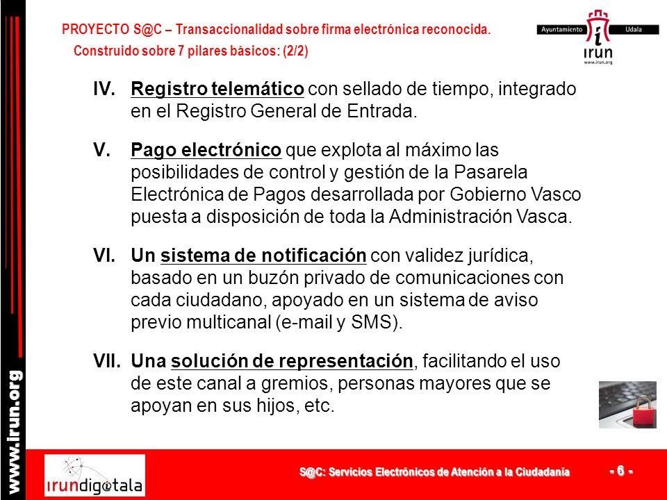 PROYECTO S@C – Transaccionalidad sobre firma electrónica reconocida.