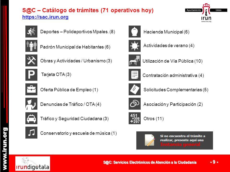 S@C – Catálogo de trámites (71 operativos hoy)