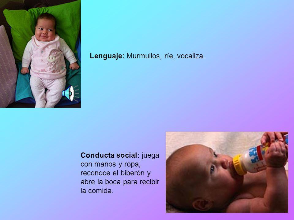 Lenguaje: Murmullos, ríe, vocaliza.