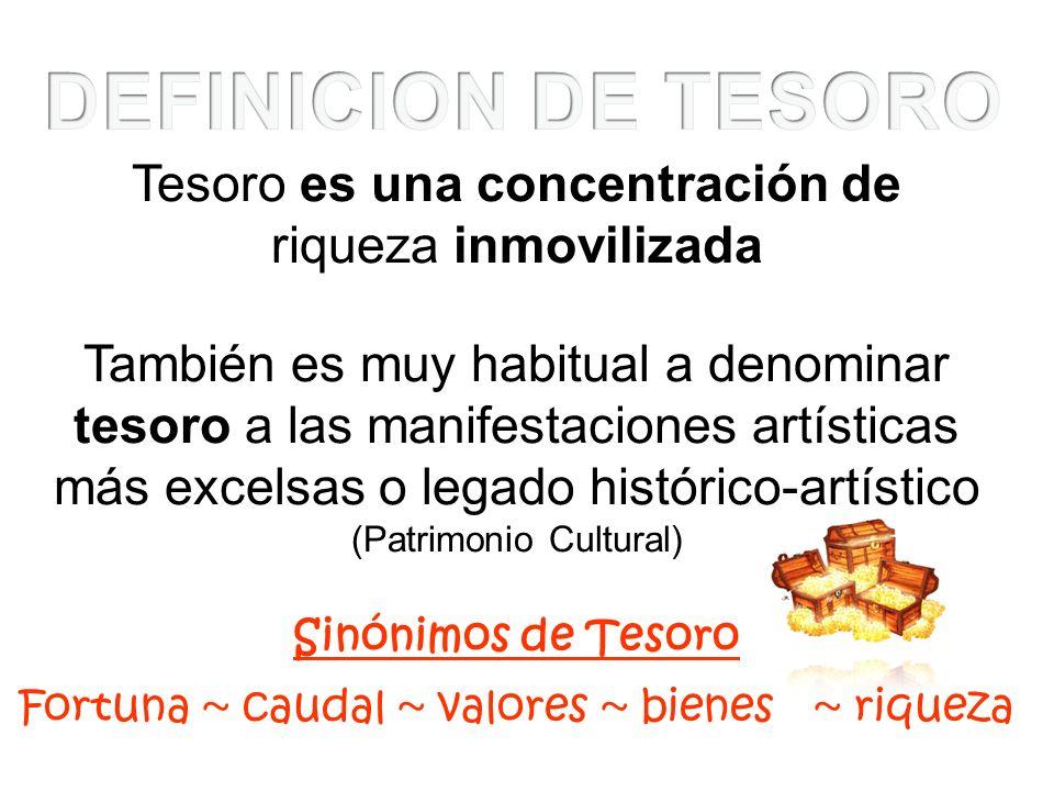 DEFINICION DE TESORO Tesoro es una concentración de