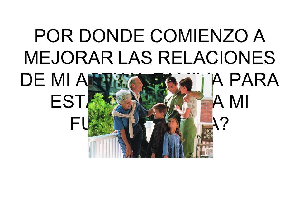 POR DONDE COMIENZO A MEJORAR LAS RELACIONES DE MI ACTUAL FAMILIA PARA ESTAR LISTO PARA MI FUTURA FAMILIA