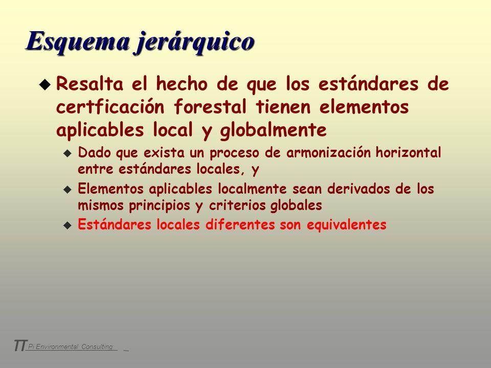 Esquema jerárquico Resalta el hecho de que los estándares de certficación forestal tienen elementos aplicables local y globalmente.