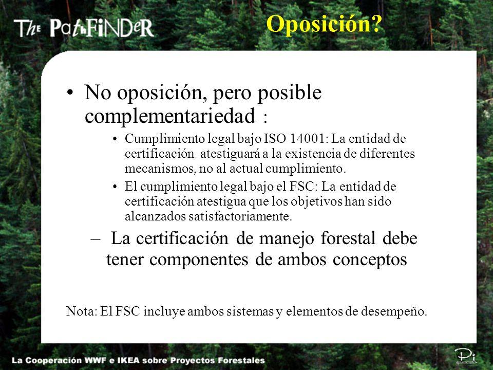 Oposición No oposición, pero posible complementariedad :
