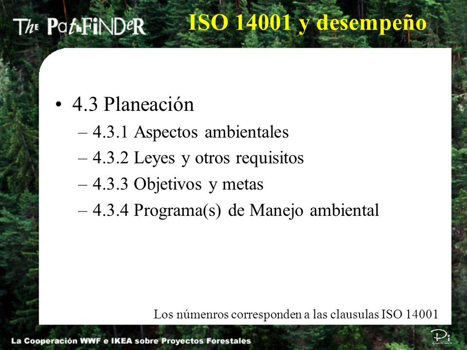 ISO 14001 y desempeño 4.3 Planeación 4.3.1 Aspectos ambientales