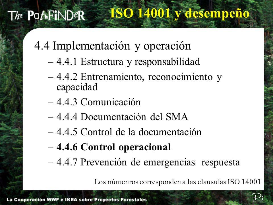 ISO 14001 y desempeño 4.4 Implementación y operación