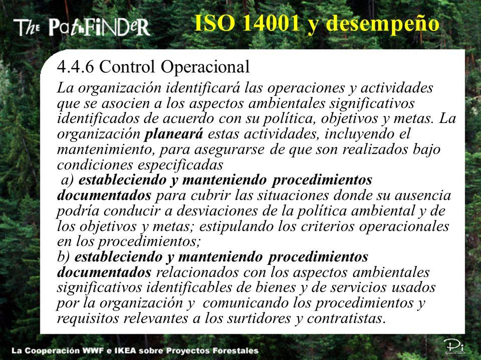 ISO 14001 y desempeño 4.4.6 Control Operacional