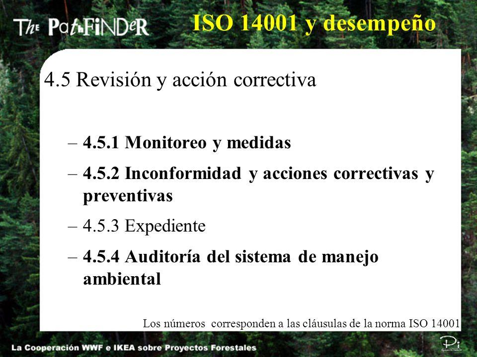 ISO 14001 y desempeño 4.5 Revisión y acción correctiva