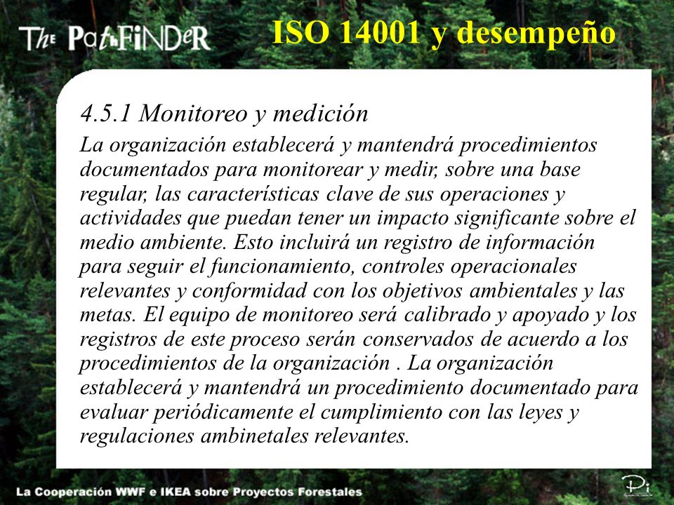 ISO 14001 y desempeño 4.5.1 Monitoreo y medición