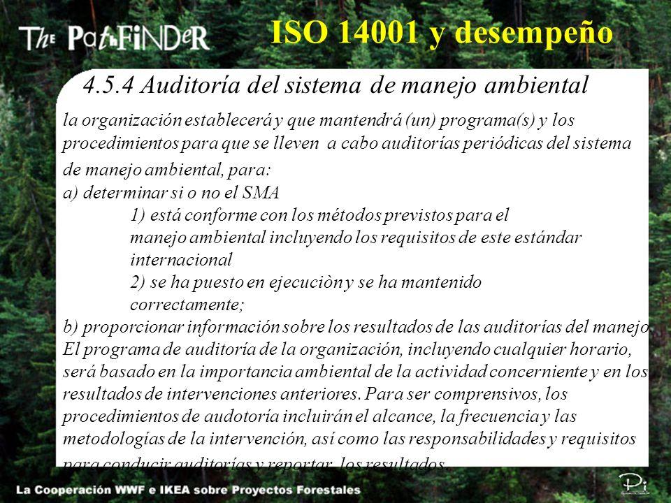ISO 14001 y desempeño 4.5.4 Auditoría del sistema de manejo ambiental