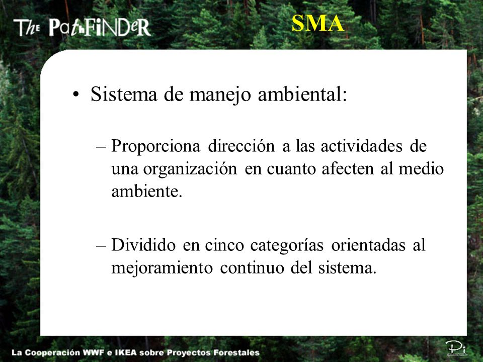 SMA Sistema de manejo ambiental: