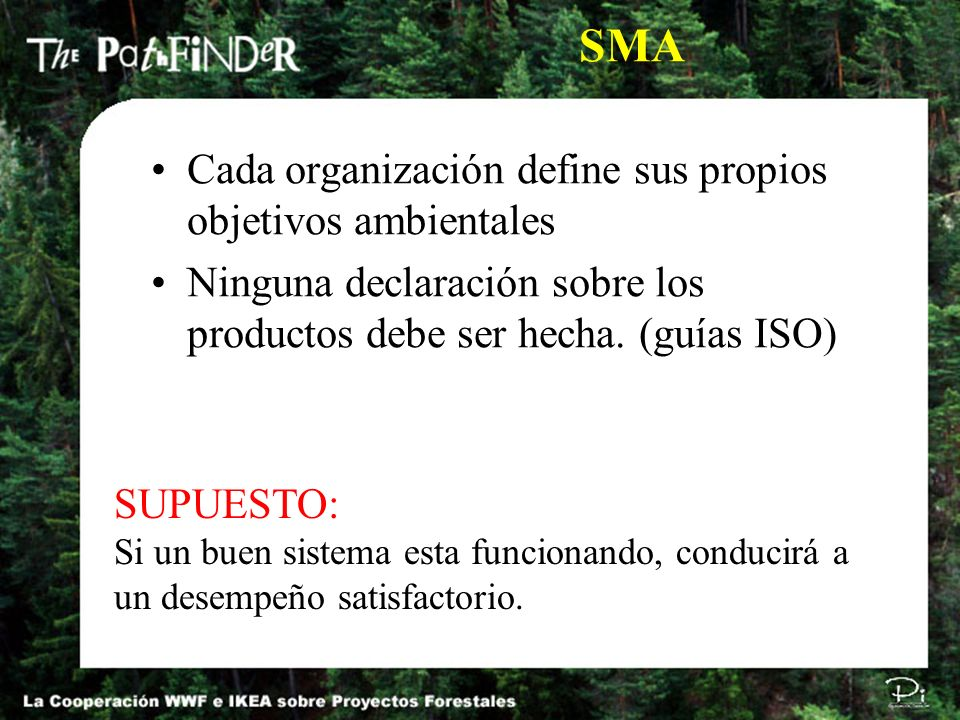 SMA Cada organización define sus propios objetivos ambientales