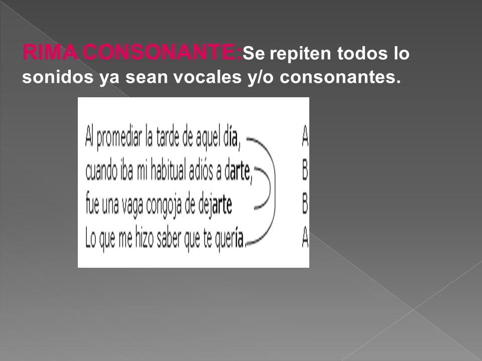 RIMA CONSONANTE:Se repiten todos lo sonidos ya sean vocales y/o consonantes.