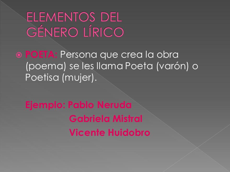ELEMENTOS DEL GÉNERO LÍRICO
