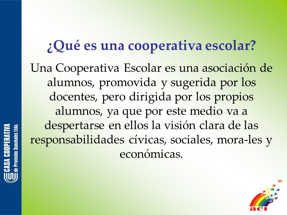 ¿Qué es una cooperativa escolar