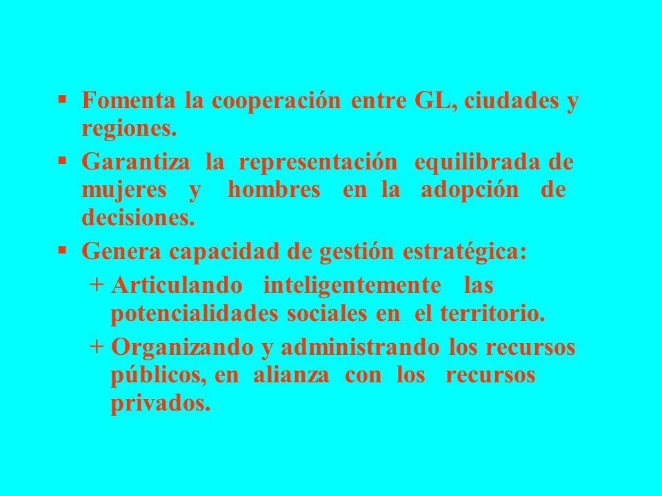 Fomenta la cooperación entre GL, ciudades y regiones.