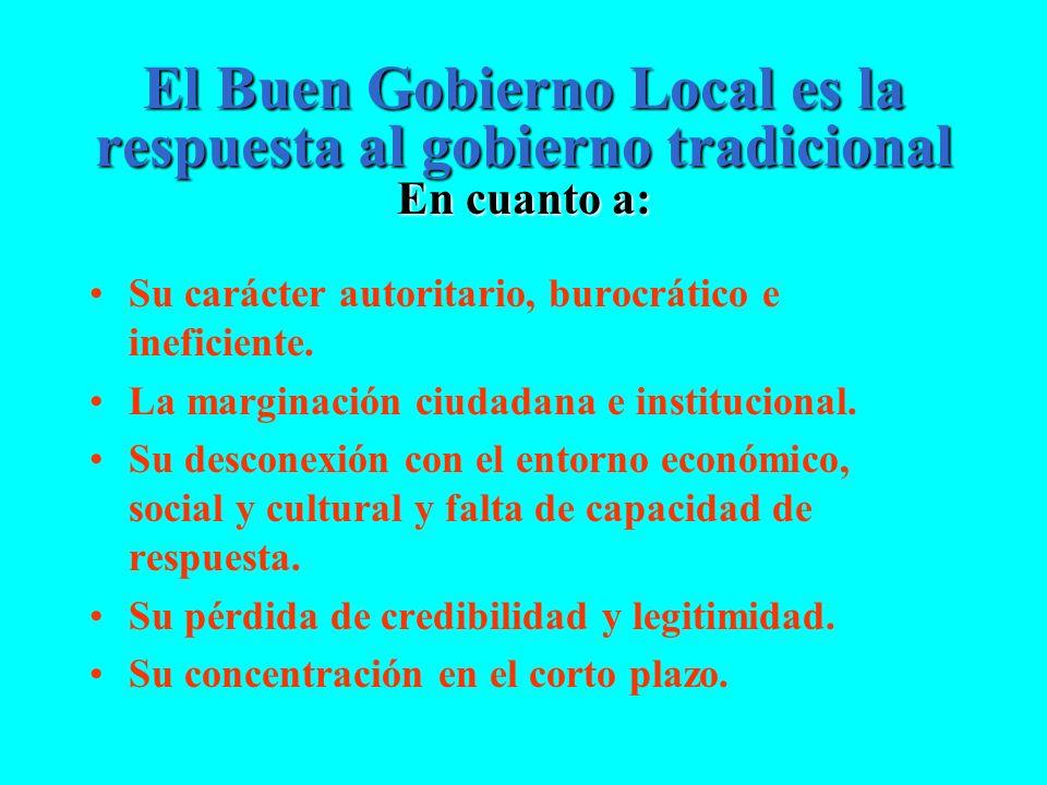 El Buen Gobierno Local es la respuesta al gobierno tradicional En cuanto a: