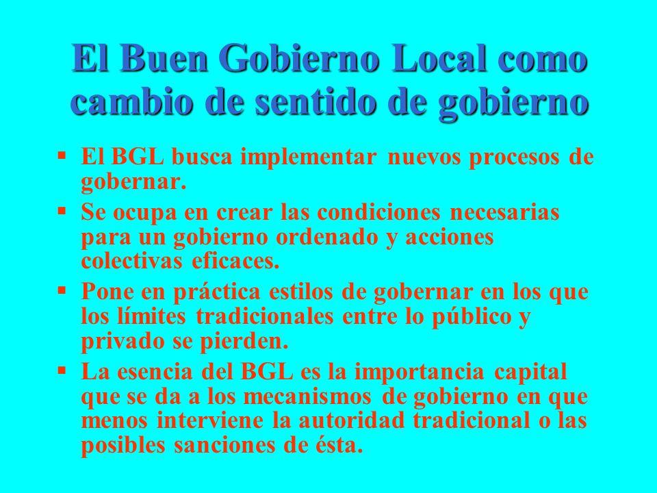 El Buen Gobierno Local como cambio de sentido de gobierno