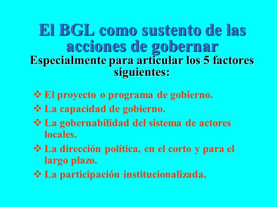 El BGL como sustento de las acciones de gobernar Especialmente para articular los 5 factores siguientes: