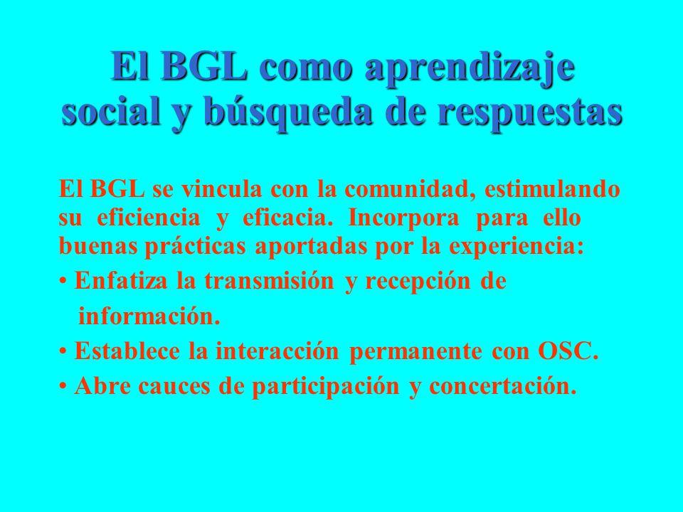 El BGL como aprendizaje social y búsqueda de respuestas