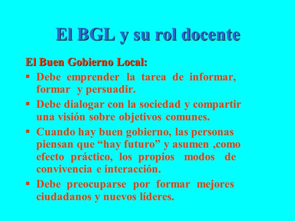 El BGL y su rol docente El Buen Gobierno Local: