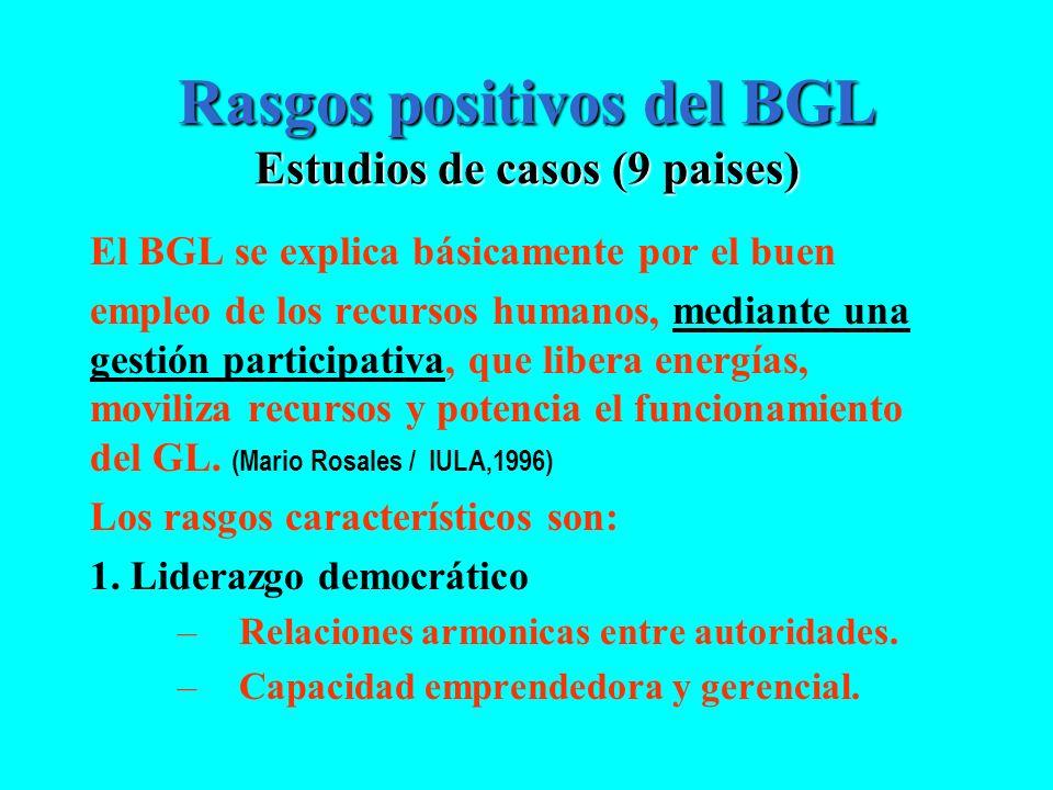 Rasgos positivos del BGL Estudios de casos (9 paises)
