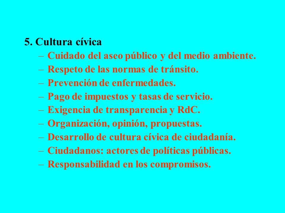 5. Cultura cívica Cuidado del aseo público y del medio ambiente.