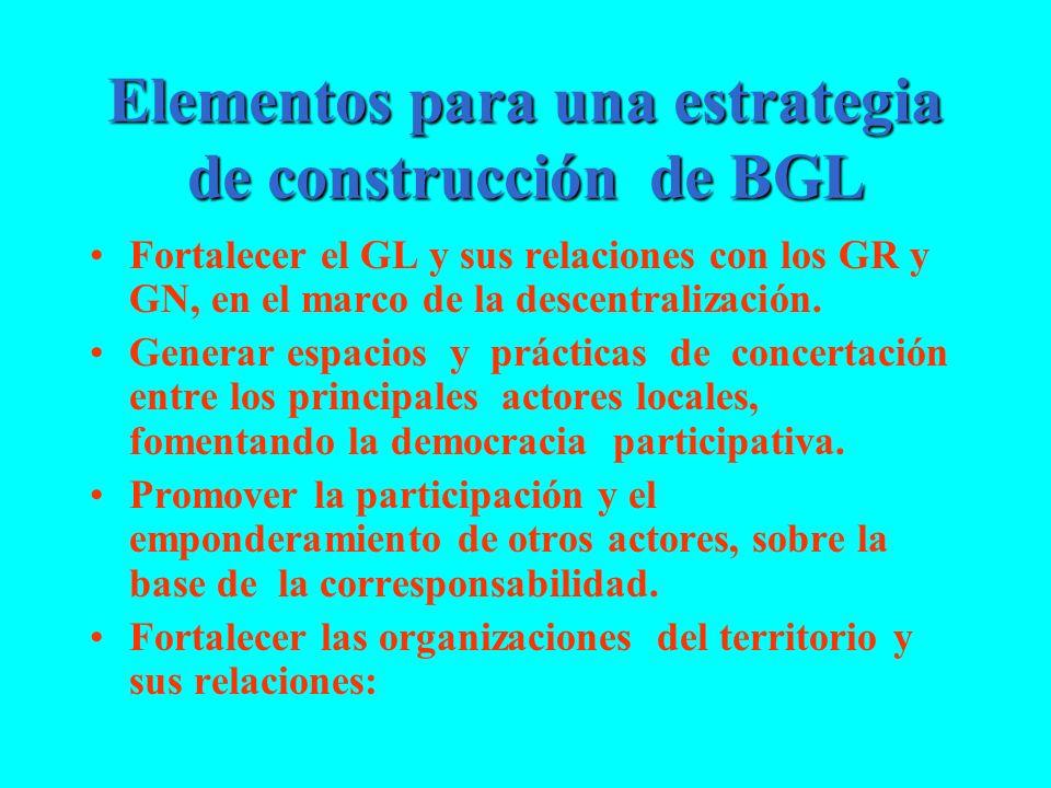 Elementos para una estrategia de construcción de BGL
