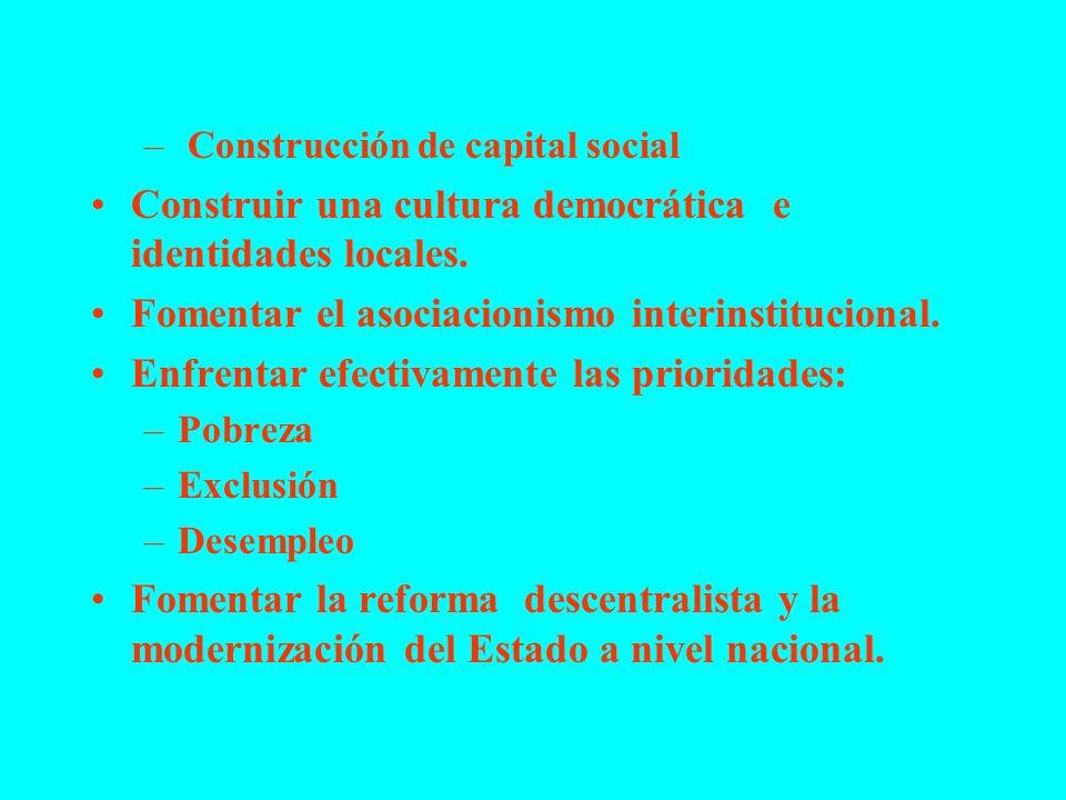 Construir una cultura democrática e identidades locales.
