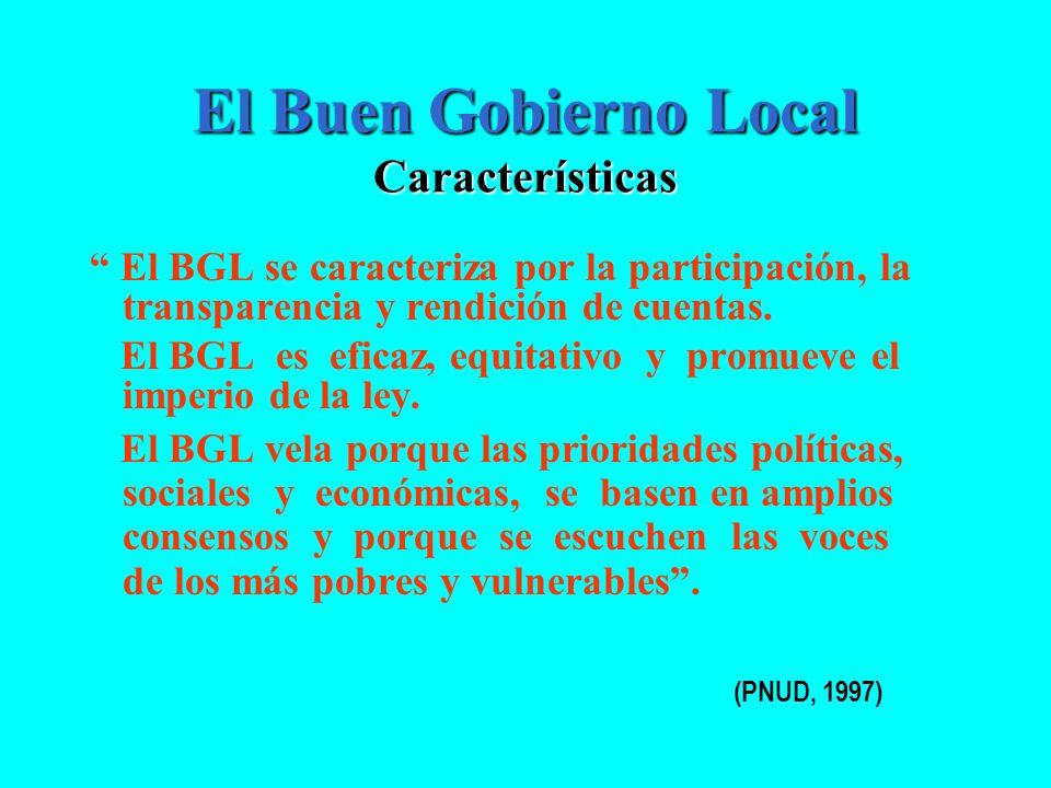 El Buen Gobierno Local Características
