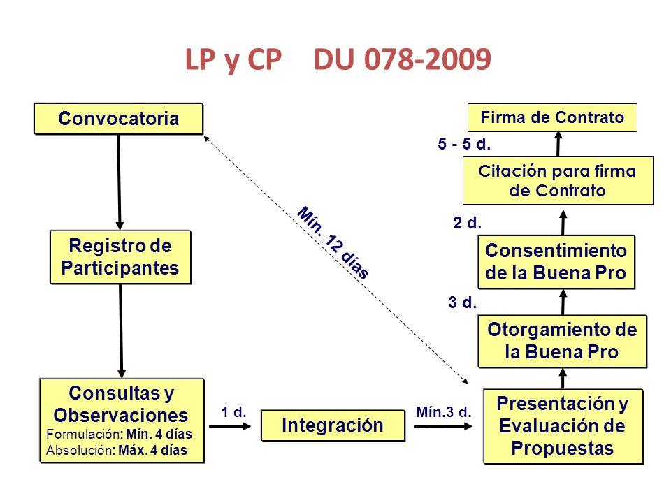 LP y CP DU 078-2009 Convocatoria Registro de Participantes