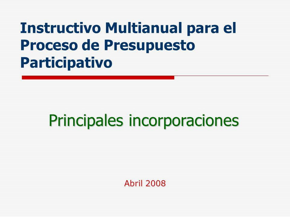 Instructivo Multianual para el Proceso de Presupuesto Participativo