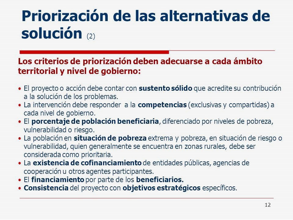 Priorización de las alternativas de solución (2)
