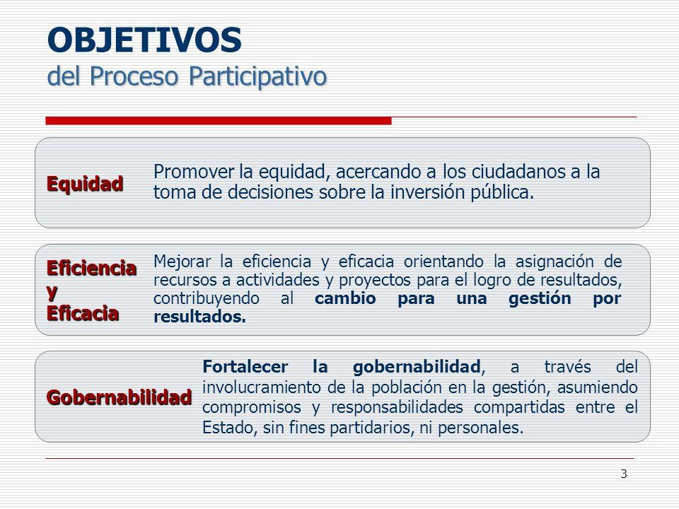OBJETIVOS del Proceso Participativo