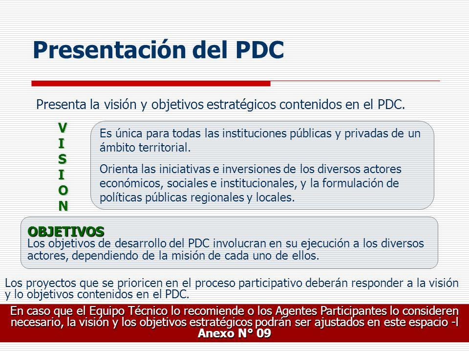 Presentación del PDC Presenta la visión y objetivos estratégicos contenidos en el PDC. VISION.